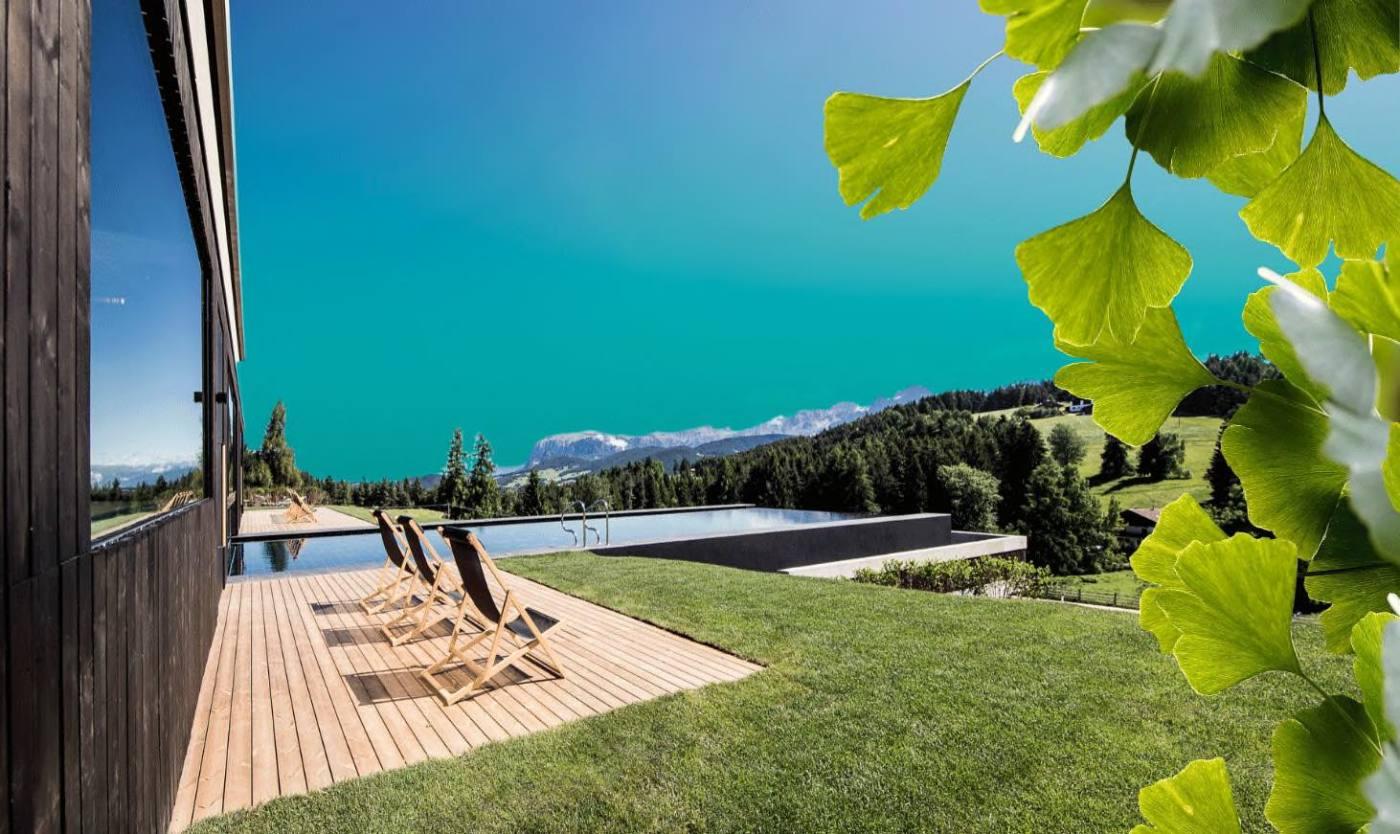 Regeneration 360 Grad bei Franz Mühlbauer im Hotel Pfoesl: Blick auf die Dolomiten